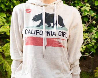 bc5471ac3a3a2f California Girl State Flag Republic Bear Red Lips Kiss Pullover Light Beige  Women s Girl s Hoodie Jacket Sweatshirt California Limited