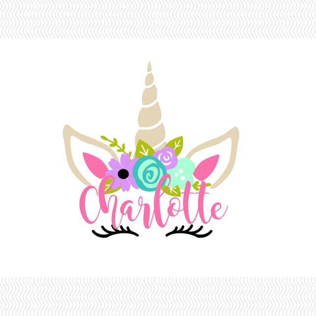 Floral Unicorn Vinyl Decal With Name Personalized Unicorn