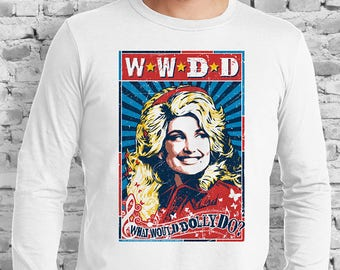 WWDD  What Would Dolly Do? White T-Shirt. Dolly Parton. Knoxville. Nashville. Tennessee. Art.
