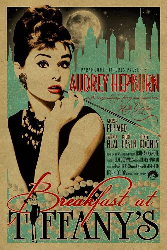 audrey hepburn in breakfast at tiffany's poster.12x18. | etsy