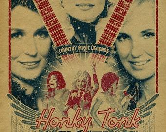 Honky Tonk Angels poster.  Dolly Parton. Loretta Lynn. Tammy Wynette. 12x18. Country Music. Kraft paper. Knoxville. Nashville. TN. Art.