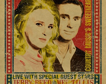 Tammy Wynette and George Jones Concert Poster with Jerry Reed and Mel Tillis. 12x18. Country Music. Kraft paper. Knoxville. Nashville. TN.