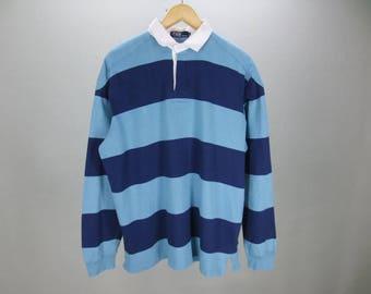 Taille Polo Ralph Lauren chemise océan   rayures bleu marine à manches  longues coude Patch Rugby Polo Shirt homme L 89b2d92ce859