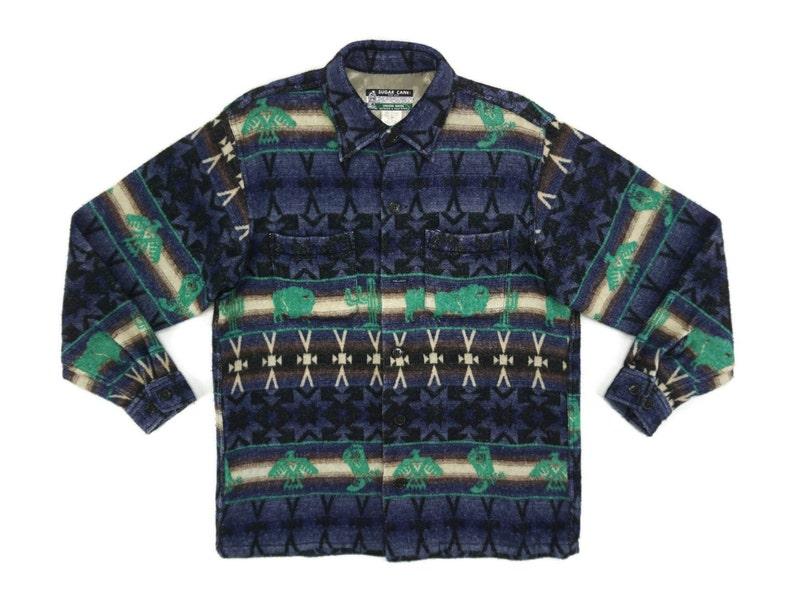 Sugar Cane Jacket Mens Size M 90s Sugar Cane Navajo Shirt Jacket Japanese Vintage Army Aztec Southwestern Button Up Jacket Toyo Rodeo