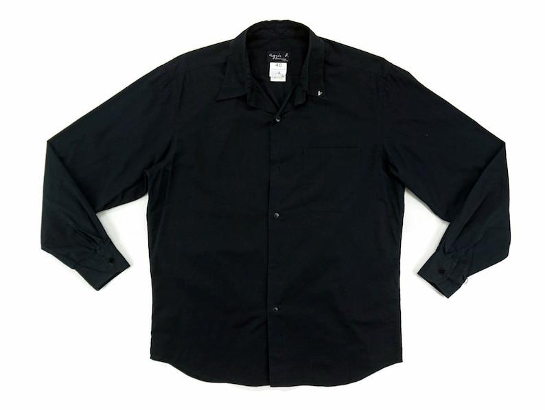 Agnes b Shirt Size 40 Mens Size ML Agnes b Button Down Shirt Agnes b Designer Plain Black Shirt Avant Garde Made in France