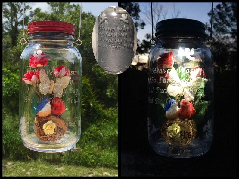 Grave Decoration Solar Jar Light Cemetery Butterfly Solar Etsy