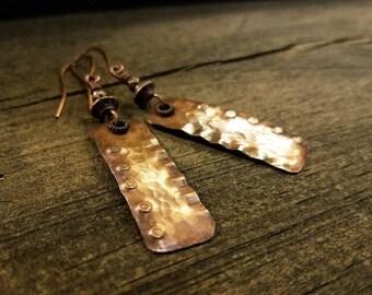Copper Earrings, Boho Earrings, Rustic Earrings, Metal Earrings, Southwestern Jewelry, Ethnic Earrings, Tribal Earrings, 2.5 inches