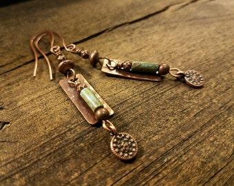 Copper Earrings, Boho Earrings, Metal Earrings, Dangle Earrings, Drop Earrings, Southwestern Earrings, 2.5 inches