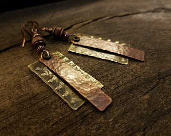 Boho Earrings, 3 inches, Mixed Metal Earrings, Antique Copper and Bronze Earrings
