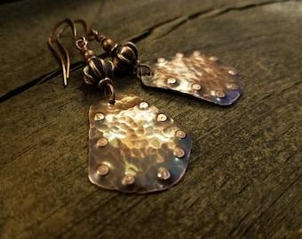 Copper Earrings, Boho Earrings, Rustic Earrings, Metal Earrings, Southwestern Jewelry, Ethnic Earrings, 2 1/2 inches