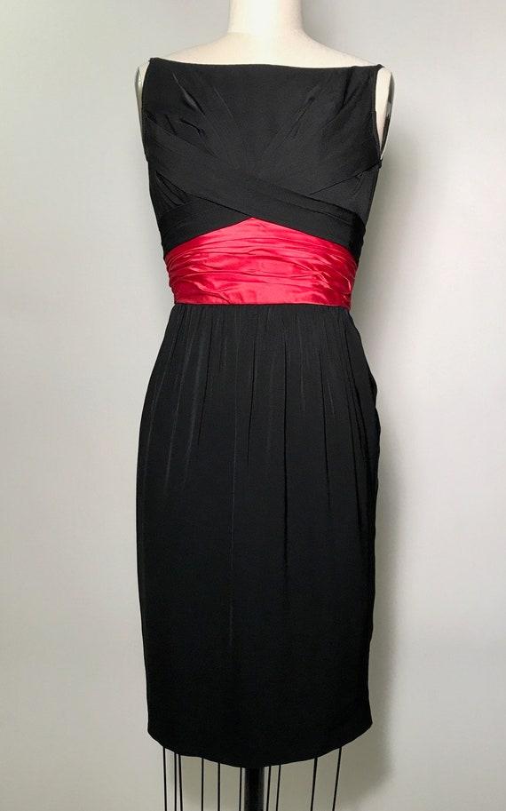 VTG 1950s Ceil Chapman Silk Cocktail Dress with Pi