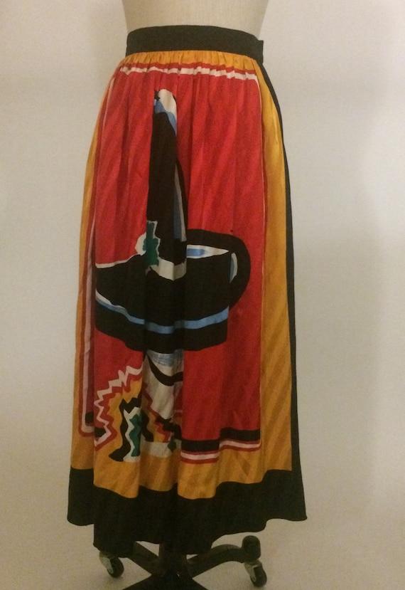 Michaele Vollbracht 1980s Red Yellow Black Silk M… - image 2