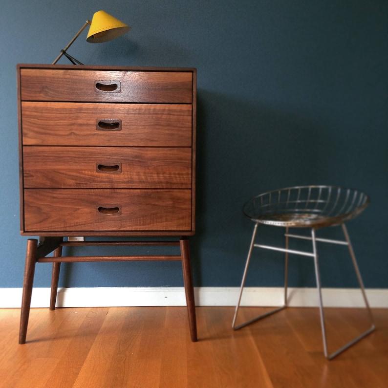Chest of Drawers dresser- cabinet solid walnut  oak scandinavian danish mid century modern Bedside Table Nightstand