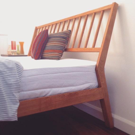 Platform Bed Frame - Solid Cherry -Danish Mid Century Modern - Twin Full  Queen King - Bedroom Furniture - Slanted Headboard walnut