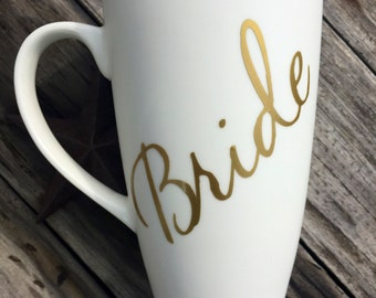 Bride coffee mug in white and gold- wedding gifts- gifts for the bride- bridesmaid gifts- custom coffee mugs- large coffee mugs