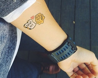 You're My Butter Half Temporary Tattoos. Temporary Tattoo 2 Pack. Fake Tattoos. Valentine's Day Tattoo.