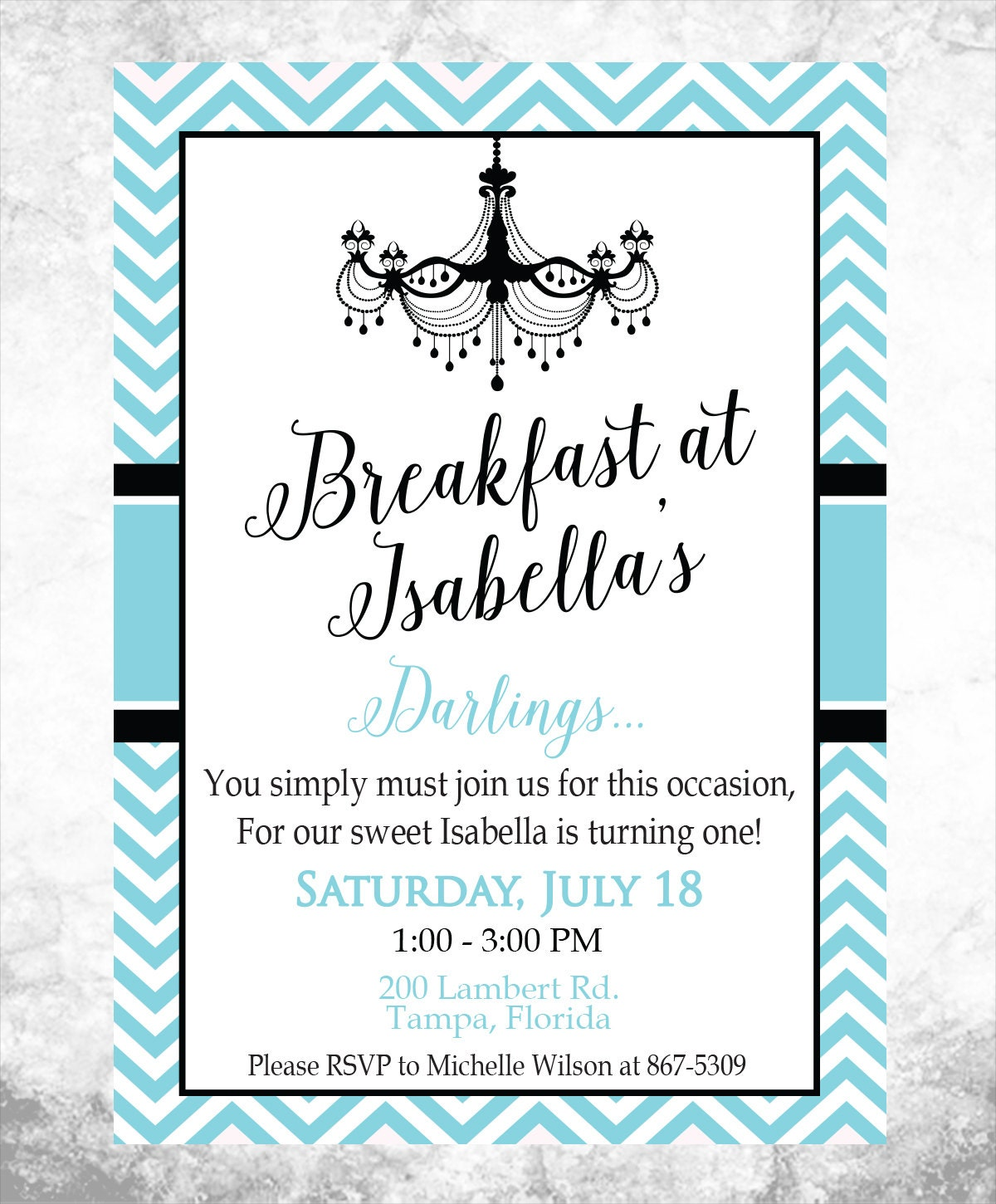 Printable Breakfast at Tiffany\'s Birthday Party Invitation   Etsy