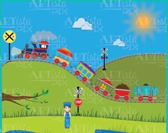 Transportation Clipart, Train Clipart, Railroad Clipart, Train Graphics, Instant Download,