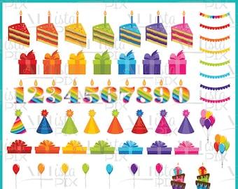 Birthday Clipart, Rainbow Clipart, Birthday Party, Celebration Clipart, Party Clipart
