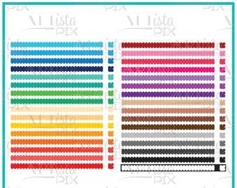 Border Clipart, Rainbow Colors, Double sided, Scalloped Borders and Corners, Instant Download, Digital File,