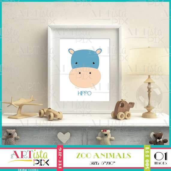 Nursery Wall Art Zoo Animals Wall Art Hippo Wall Art | Etsy