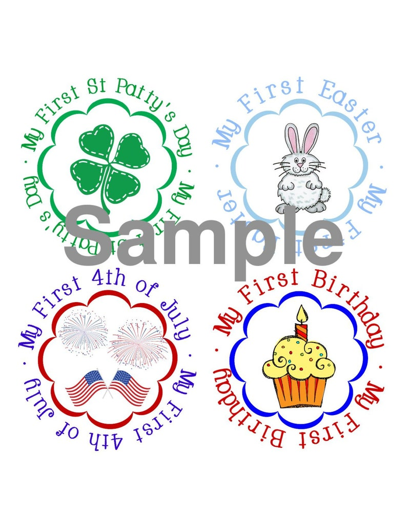 Halloween Thanksgiving Christmas Clipart.My First Holiday Round Stickers Halloween Thanksgiving Christmas Valentines St Pattys Day Easter Monthly Growth Stickers