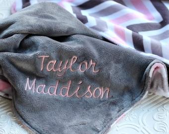 Personalized Baby Blanket, Minky Baby Blanket, Baby Girl blanket or lovey, Pink and Grey Chevron Blanket , Monogrammed Baby Blanket