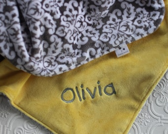 Personalized Baby Blanket, Baby Blanket, Baby Girl or Boy blanket, Monogrammed Blanket, Gray Damask Blanket, Yellow and Gray Minky Blanket