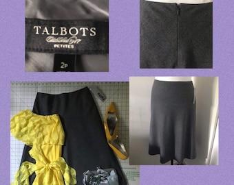 0266744e4a Talbots Petite Skirt//Grey A-line Skirt Midi //Modest skirt//Size2//