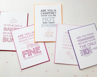 Pick-Up Line Cards 5 Pack . valentine's card . anniversary card . love card . funny card . cheesy card . boyfriend card . girlfriend card