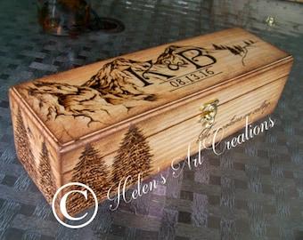 Rustic Mountains Wine Box, Personalized Wine Box, Custom Wine Box, Wedding Box, Anniversary, Wedding Keepsake Box, Birthday, Heirloom