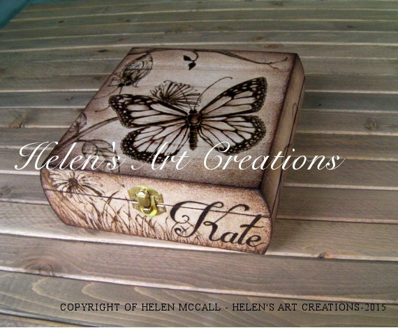 Butterfly Keepsake Box Wedding Keepsake Box Custom Box Personalized Engraved Box Time Capsule Heirloom Anniversary Celebration