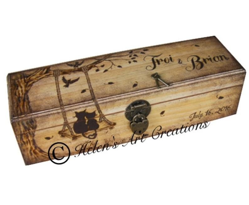 Custom Wine Box Wedding Wine Box Engraved Box Personalized image 0