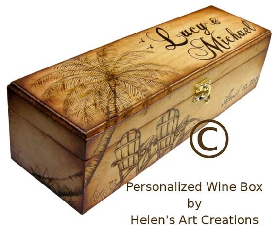 Personalized Wine Box Custom Wine Box Wine Box Wedding Wine Box Anniversary Wedding Keepsake Ocean Beach Birthday Keepsake Box