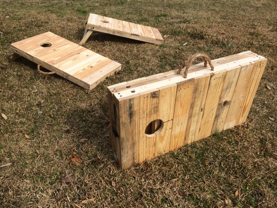 Rustic 2 3 Scale Cornhole Boards Made From Pallet Wood Etsy