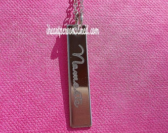 Vertical Name Bar Necklace, Personalized Vertical Name Necklace, Custom Bar Necklace, Namaste Necklace