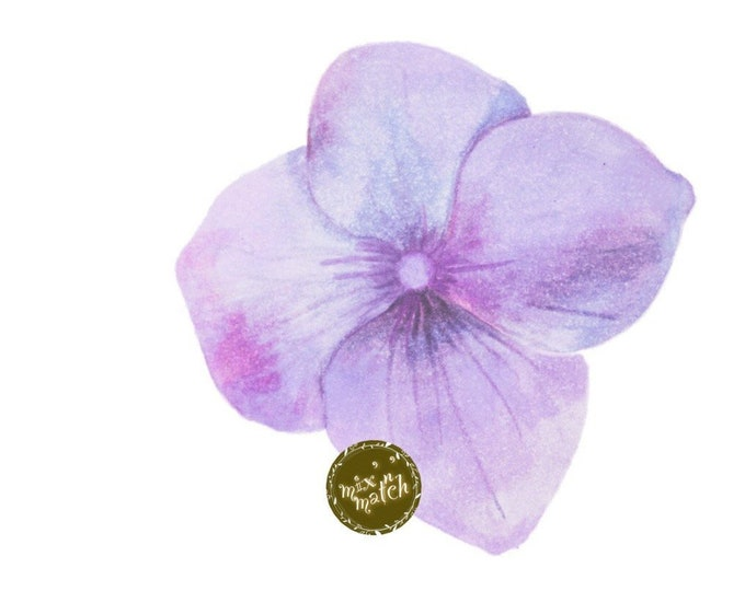 Watercolour Hydrangea Flower Petal Clipart Lilac Floral Downloadable Printable Digital PNG 300dpi DIY Craft Baby Shower
