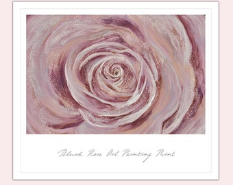 Blush Pink Rose Oil Painting Print A3 Wall Art Valentine's Gift Anniversary Wedding Christmas Birthday