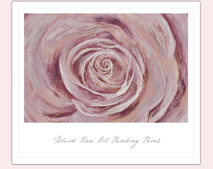 Blush Pink Rose Oil Painting Print A3 Wall Art Valentine's Gift Anniversary Wedding Christmas Birthday