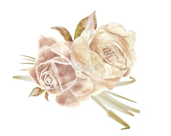 DIGITAL Blush Champagne Watercolour Roses Flower Bouquet Arrangement Clipart Floral PNG 300dpi InsideMyNest