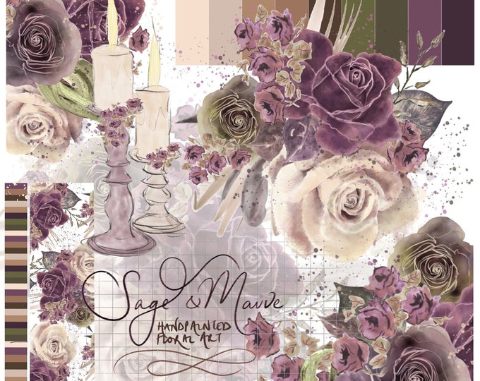 Sage Green & Mauve Watercolour Floral Clipart Flower Clip Art Printable Wall Art Card Invitation Roses Purple Lilac Instant Download