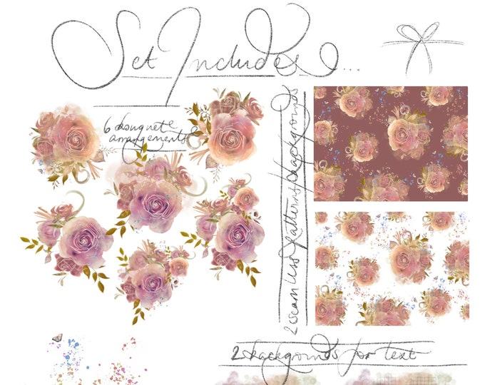 Blush Peach Dusty Rose Watercolour Flowers PNG Clipart Roses Bouquet Floral Arrangements Hand-painted Digital 300dpi