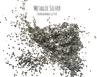 Metallic Silver Biodegradable Glitter Sprinkles Hexagonal Craft Art Embellishments Table Decor (20g)