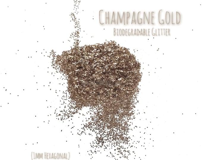 Champagne Gold Biodegradable Glitter Sprinkles Hexagonal Craft Art Embellishments Table Decor (20g)