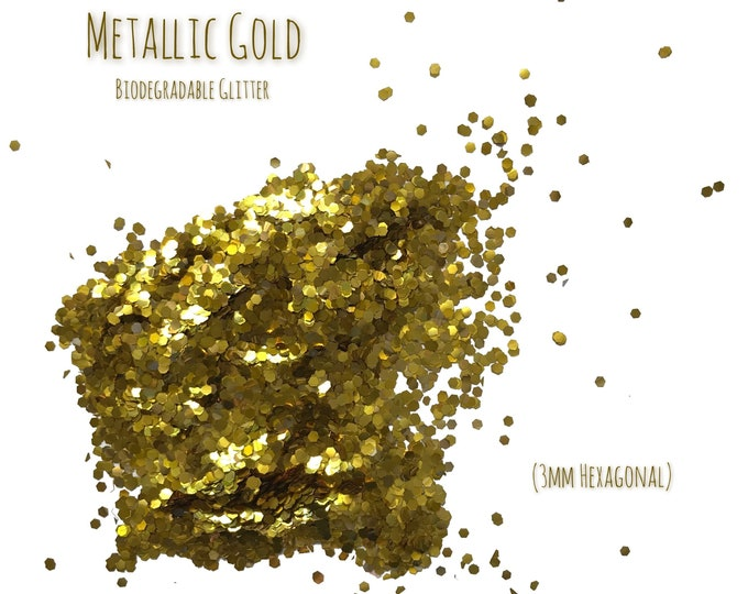 Metallic Gold Biodegradable Glitter Sprinkles Hexagonal Craft Art Embellishments Table Decor (20g)
