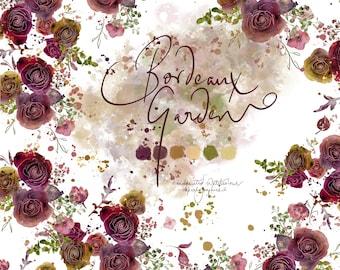 DIGITAL Flower Bloom Bordeaux Wine Marsala Merlot Burgundy Maroon Watercolour Floral Digital Paper Pattern Flowers Clipart