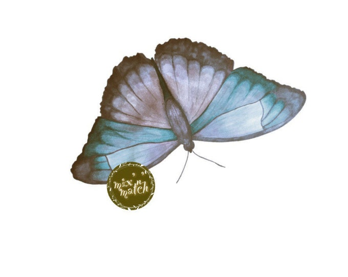 DIGITAL Vintage Blue Watercolour Butterfly Clipart Instant Download PNG 300dpi Transparent Background DIY Invitation Card Jewellery Making