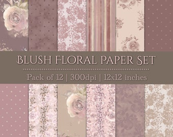 DIGITAL Blush Paper Set Watercolour Floral Roses Flowers Scrapbook 12x12 Baby Girl Shower Wedding Party Printable