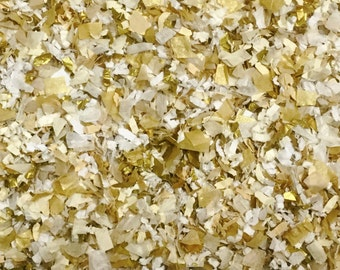 White Ivory Gold Wedding Sparkly Shimmering Confetti Biodegradable Party Decorations InsideMyNest (25 Guests)