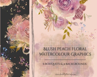 Blush Peach Watercolor Flowers PNG Clipart Roses Bouquet Floral Arrangements Wedding Invitation Baby Shower Hand-painted Digital 300dpi